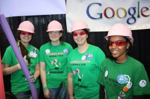 Members of the all-girls robotics team!