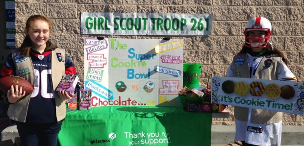 Reagan and a fellow Girl Scout during last year's Cookie Sale